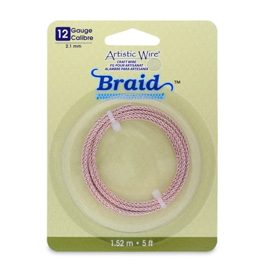Artistic Wire Braid 12 Gauge Rose Gold  Qty: 5 ft (1.52 meters)