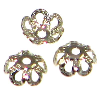 Rhodium Color Bead Caps 4mm Daisy Qty:20