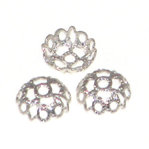 Silver Color Bead Caps Lace 6mm Qty:20