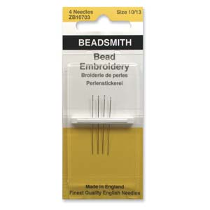 Bead Embroidery Needles #10, 12 and 13 Qty:1 pack of 4