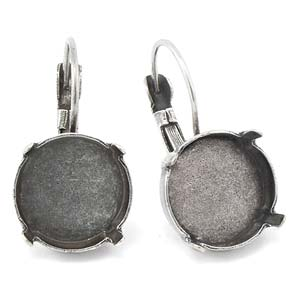 Gita Jewelry Bases 14mm Rivoli Leverback Earrings Antique Silver Plated Qty:2