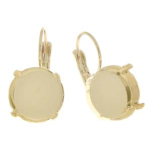 Gita Jewelry Bases 14mm Rivoli Leverback Earrings Yellow Gold Plated Qty:2