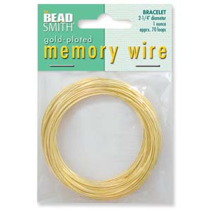 Memory Wire Gold Plate 2-1/4inch (Bracelet Size) Qty:70 Turns