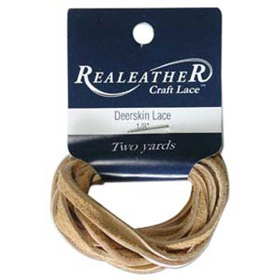 Deerskin Lace 1/8 inches  Buckskin Qty:2 Yards