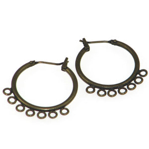 Antique Gold Color Earring Hoops 7 Ring Qty:2