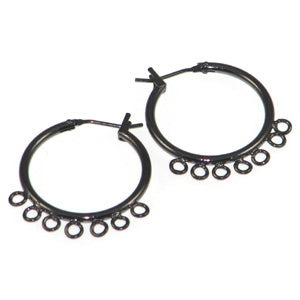 Gunmetal Color Earring Hoops 7 Ring Qty:2