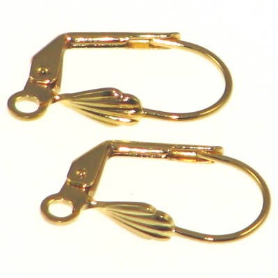Gold Color Lever Back Earring Hook w. Shell 17x9mm Qty:10
