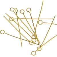 Gold Plated Eyepins 1in-020 Gauge Quantity:100