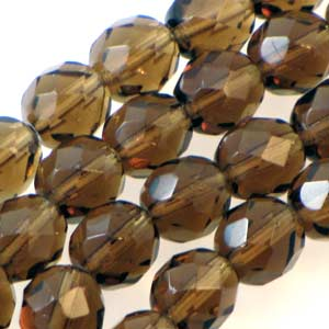 Faceted F/P Rounds 8mm Smoked Topaz Qty:19 strung