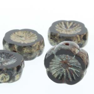 Czech Glass Hawaiian Flowers 12mm Black Picasso Qty:12