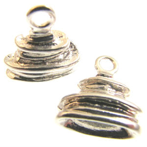 Silver Plated End Cap Wrapped Effect 16x13mm Qty:2