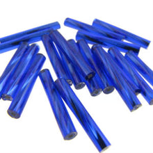 Load image into Gallery viewer, Czech Bugles 15mm Twisted Silver Lined Royal Blue Qty:80