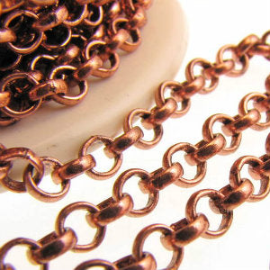 Antique Copper Finish Chain Rolo 4.5mm Qty:1 foot