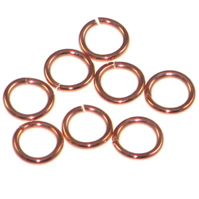 Bright Copper Jump Rings Open 7mm Outside Diameter 18 Gauge Quantity:100