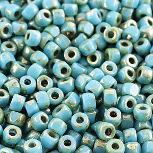 Czech Matubo Beads 6/0 3-Cut Turquoise Blue Picasso Qty:10g