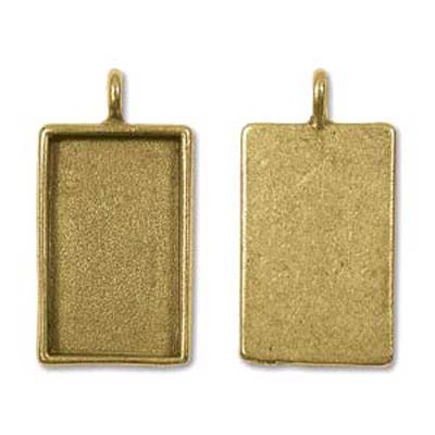 Patera Large Pendant Rectangle 21X40.6mm Antique Gold Qty:2