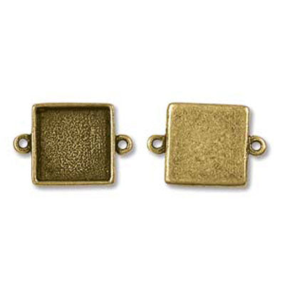 Patera Mini Links Square 14.8X21.1mm Antique Gold Qty:5