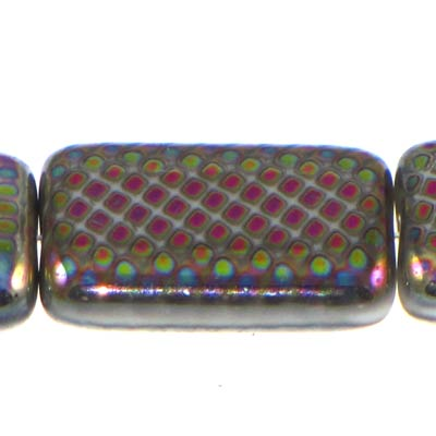 Peacock Beads Rectangle 19X12mm White Vitrail Medium Qty:10