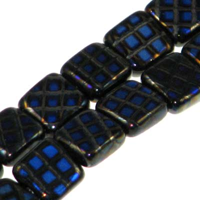 Peacock Beads Square 8mm Black Azuro Qty:20