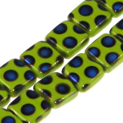 Peacock Beads Square 8mm Green Azuro Qty:20