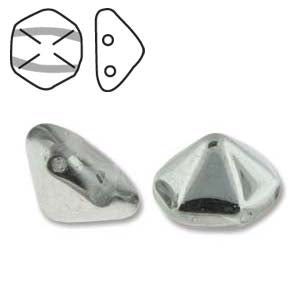 Pyramid Hex Beads Two Hole 10x16mm Crystal Labrador Qty:12