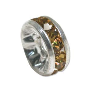 Rhinestone & Silver Metal Rondelle 8mm Amber *D* Qty:1