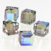 Swarovski Cubes 6mm Black Diamond AB Qty:3