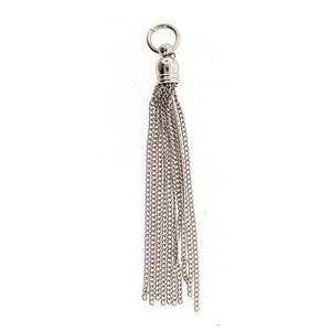 Chain Tassel with 5mm Bell Cap Shiny Silver Plated Qty: 1