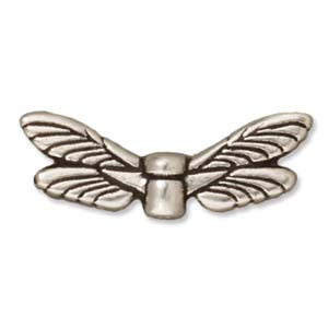 Antique Silver Plated Bead Dragonfly Wings 7x20mm by Tierracast Qty:1