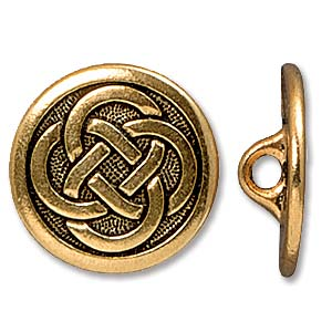 Antique Gold Plated Celtic Button 17mm by Tierracast Qty:1