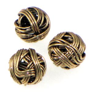 Antique Gold Plated Beads Wound Wire 10mm Qty:5