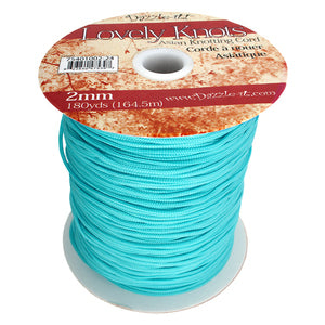 'Lovely Knots' Asian Knotting Cord 2mm Aqua Blue Qty:5 yards