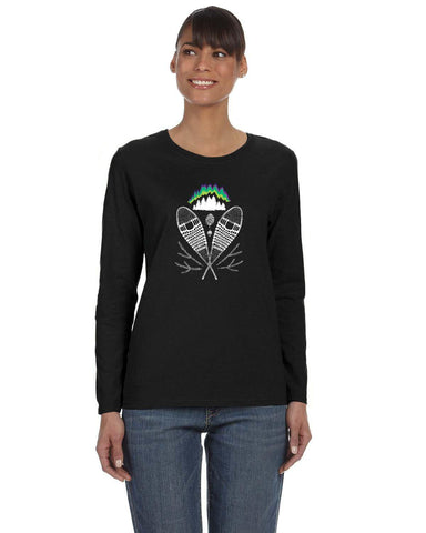 Snowshoeing under the Northern Lights ~ Gildan Ladies' Long-Sleeve T-Shirt
