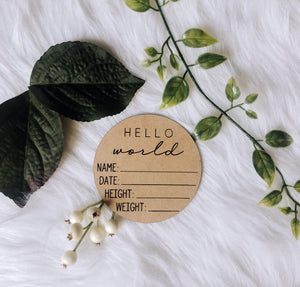 Engraved Wooden Birth Announcement - Newborn - Hello World - Baby Shower Gift - New Baby - Hospital Gift
