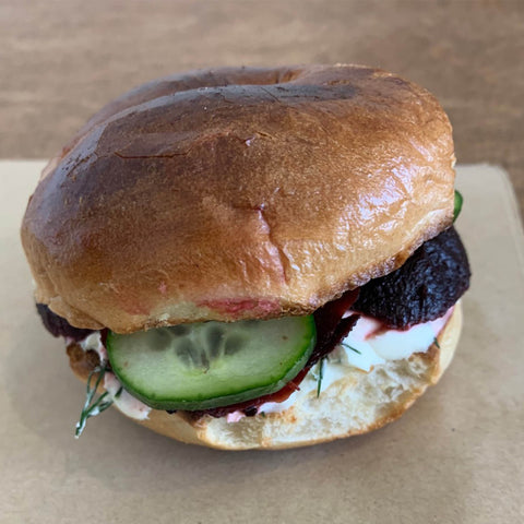 Beetroot, Cucumber and Dill Cream Cheese Toasted Bagel