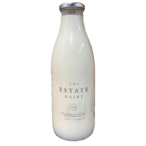 The Estate Dairy Semi Skimmed Milk Glass Bottle 1L