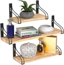 Load image into Gallery viewer, Tribal Cooking Wooden Wall Shelf Set - Stylish Floating Wall Shelves with Black Brackets for Bedroom, Kitchen & Bathroom - 3 Rustic Floating Shelves in Small, Medium & Large Sizes