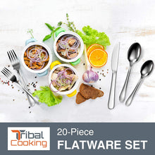 Load image into Gallery viewer, Tribal Cooking 20 Piece Stainless Steel Silverware Set - Elegant Flatware Set With Forks, Knives, & Spoons - Premium Versatile Kitchen Silverware With a Stunning Polished Finish - Dishwasher Safe