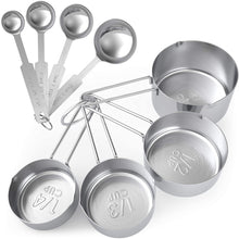 Load image into Gallery viewer, Stainless Steel Measuring Spoons Set of 8, Cups and Spoons Set - 8 Pieces Cooking and Baking Accessories and Tools