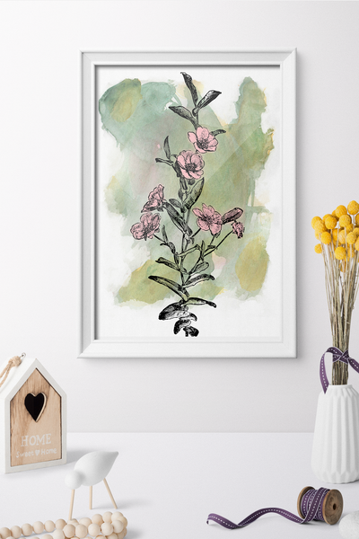 Watercolor Vintage Flower