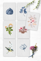 Watercolor Botanical Art Print Set ((16 Prints))