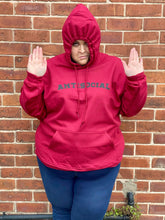 "Load image into Gallery viewer, Wine ""Antisocial"" Hoodie - Topsy Curvy Ltd"