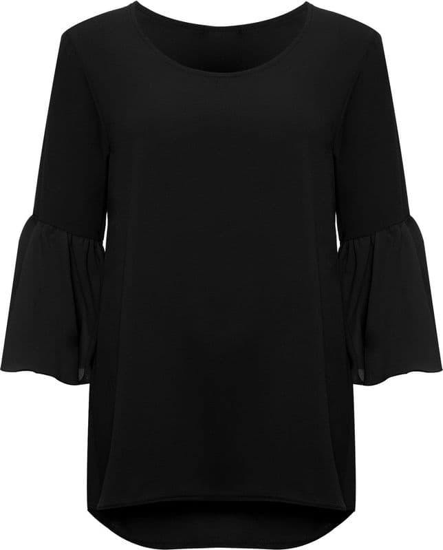 Black Bell Sleeve Crepe Top - Topsy Curvy Ltd