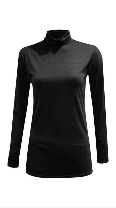 Black Long Sleeved Jersey Turtle Neck Top - Topsy Curvy Ltd
