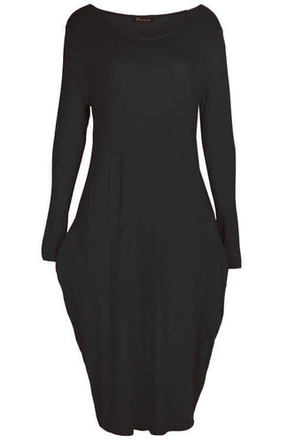 Black Pocket Slouch Midi Dress - Topsy Curvy Ltd
