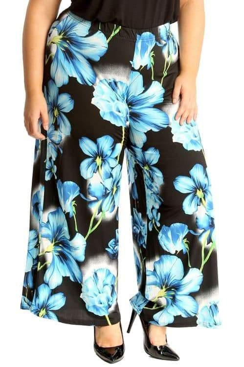 Blue Big Floral Print Palazzo Trousers - Topsy Curvy Ltd