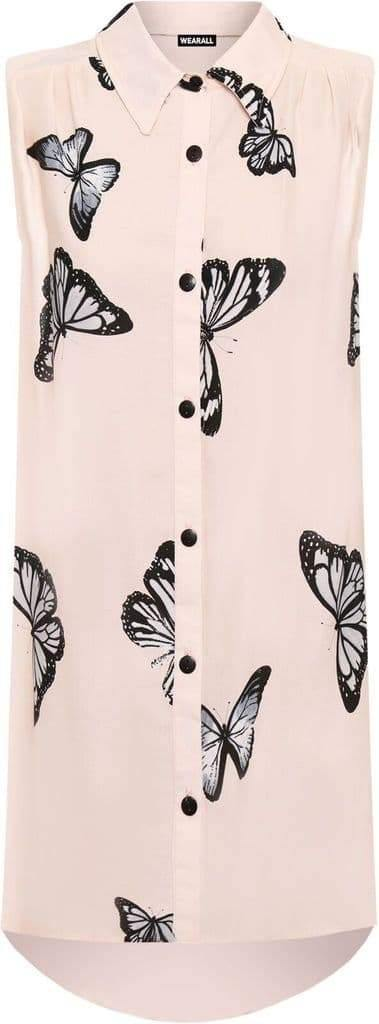 Blush Butterfly Chiffon Sleeveless Shirt - Topsy Curvy Ltd