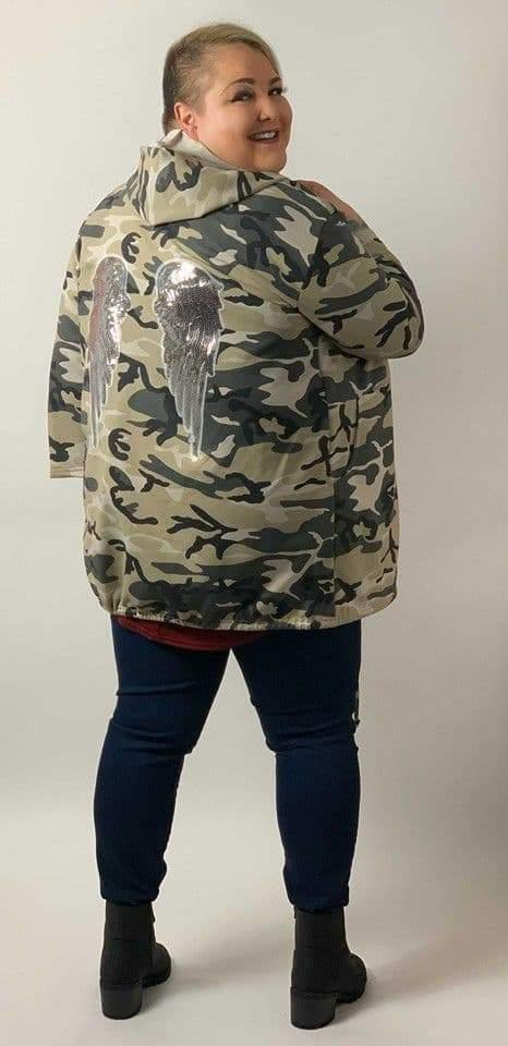 Camouflage Embellished Angel Wings Hooded Jacket - Topsy Curvy Ltd