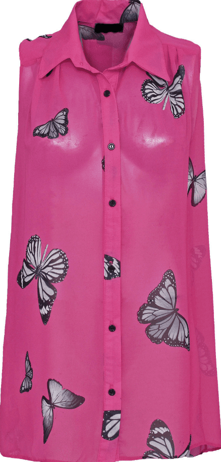 Fuchsia Butterfly Chiffon Sleeveless Shirt
