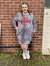 "Load image into Gallery viewer, Leopard Print ""Fat Babe"" Slogan T-shirt Dress"